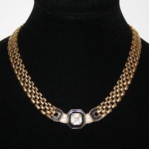 Vintage gold black and CZ Trifari Necklace